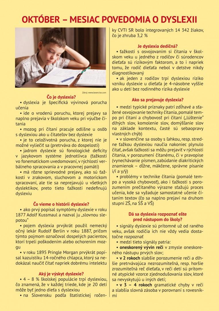 Dyslexia - aktuálne informácie